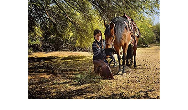 Barry Hart Time for a Snack Western Photography Horse Cowgirl Print Poster 19x13