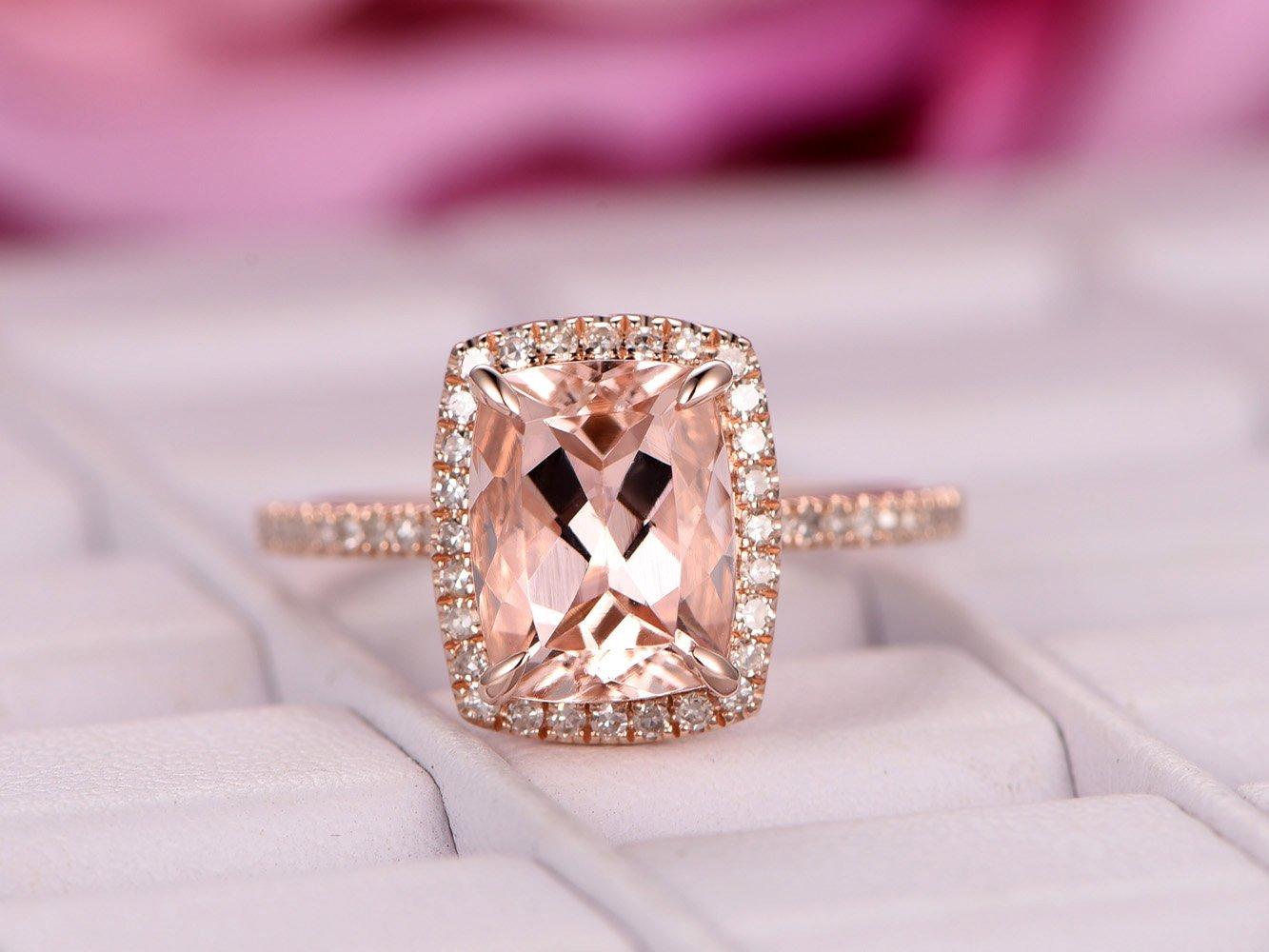 Amazon.com: Cushion Morganite Engagement Ring Pave Diamond Wedding ...