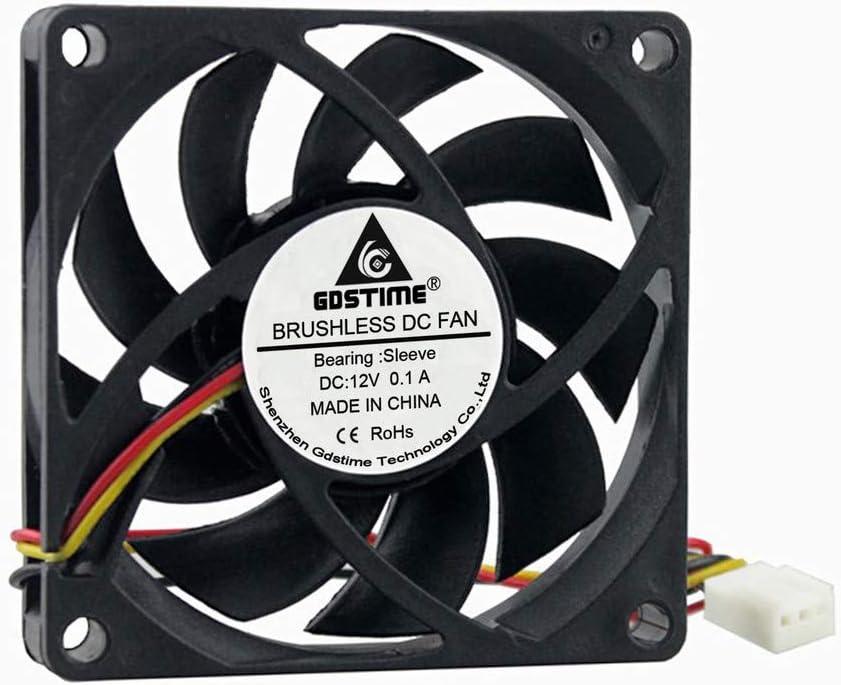 GDSTIME 70mm x 70mm x 15mm 12V 3PIN DC Brushless CPU Cooler Fan