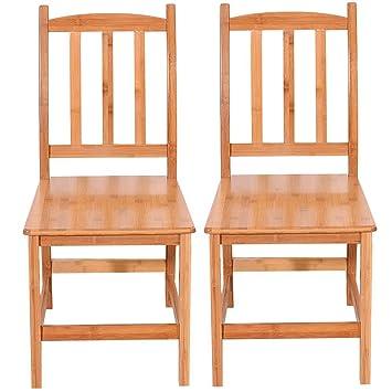 Sensational Amazon Com Azadx Bamboo Indoor Dining Chairs Set Of 2 Frankydiablos Diy Chair Ideas Frankydiabloscom