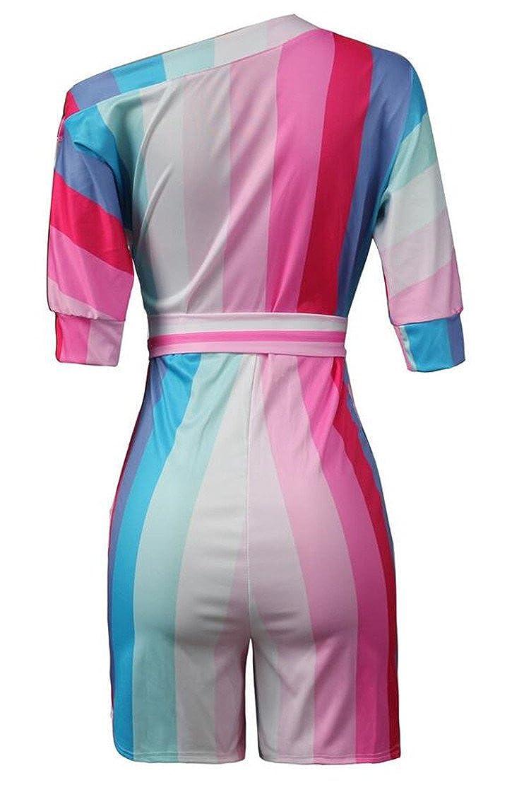 Twcx Womens Pockets Basic One Shoulder Belted Floral Print Jumpsuits Romper