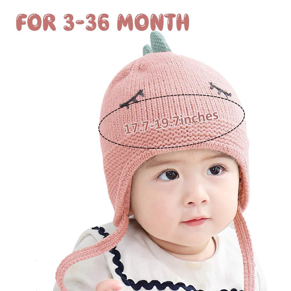 kakaforsa Warm Winter Hats Toddler Baby Knit Cap Lovely Dinosaur Beanie for 3-36 Months Babies