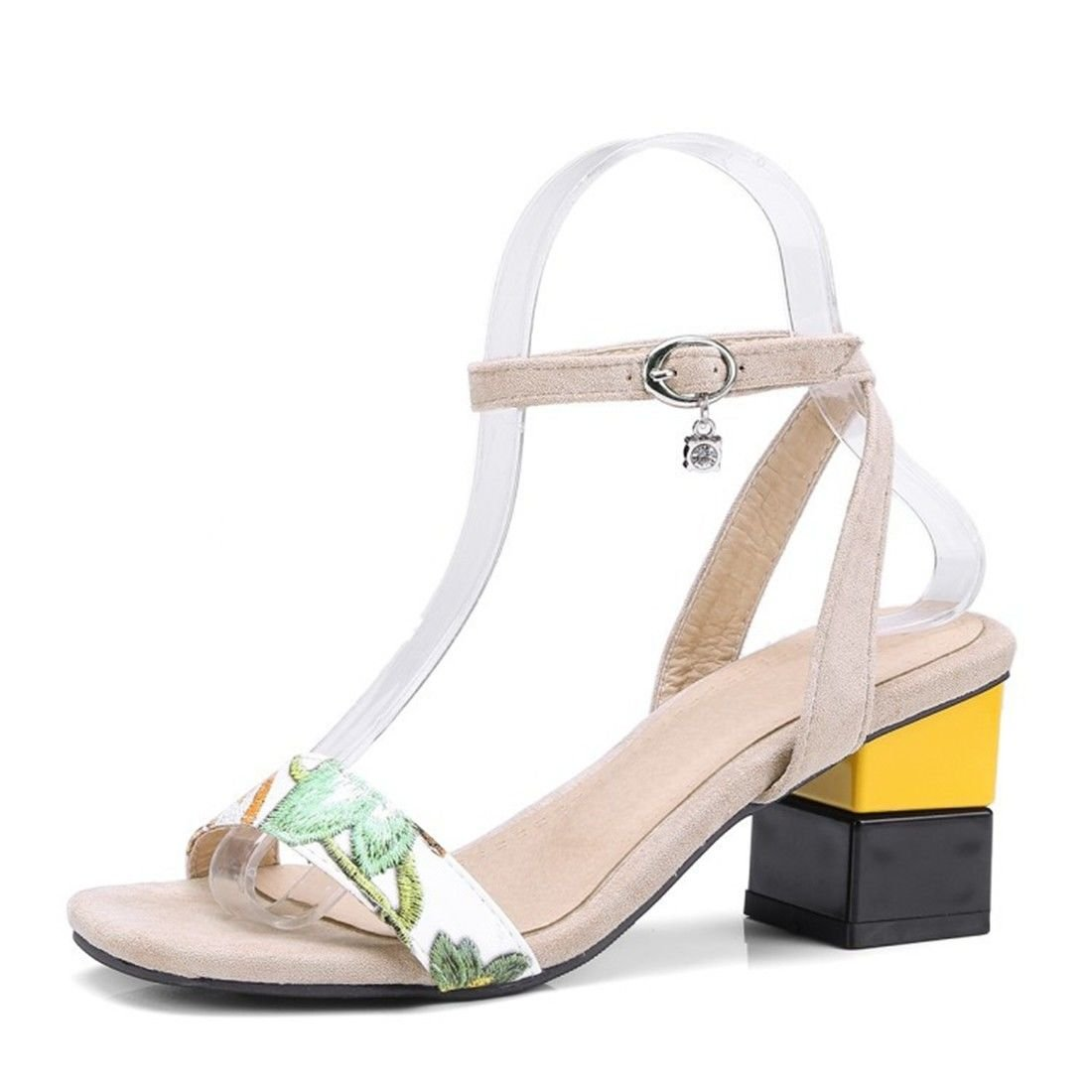 YU/&XIN-Spring and Autumn Womens Shoes Ms summer high-heeled sandals thick with hasp stamp square big yards sandals