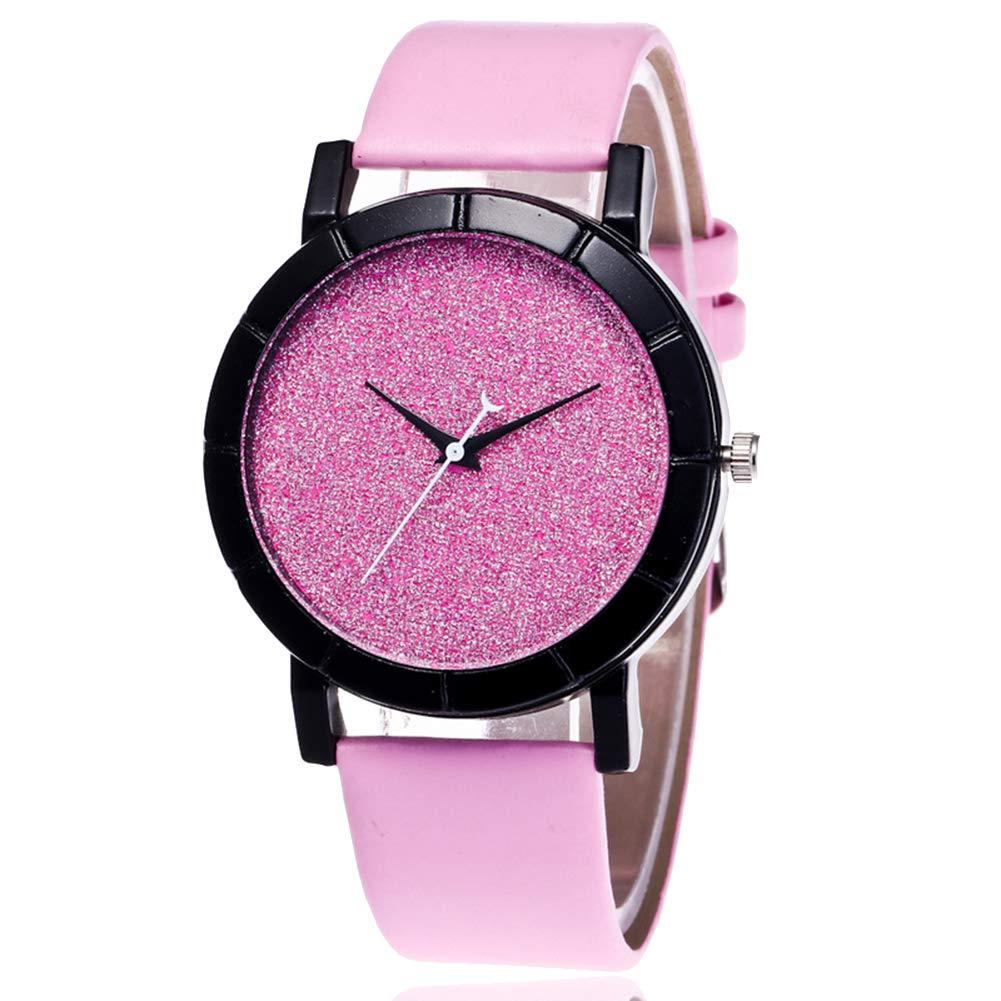 yanbirdfx Fashion Women Men Starry Solid Color Round Dial Quartz Wrist Watch Couple Gifts - Pink