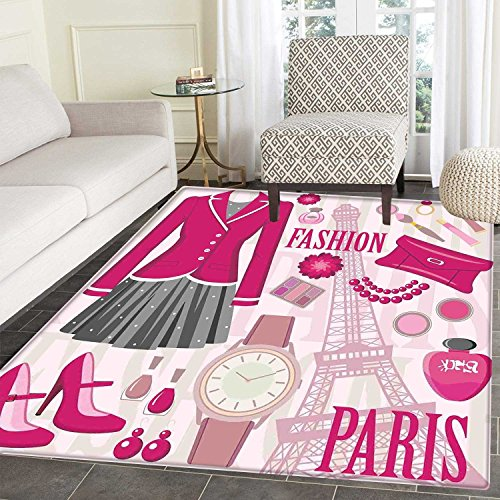 Girls Floor Mat Pattern Fashion Theme in Paris with Outfits Dress Watch Purse Perfume Parisienne Landmark Living Dinning Room & Bedroom Mats 5'x6' Pink Biege -