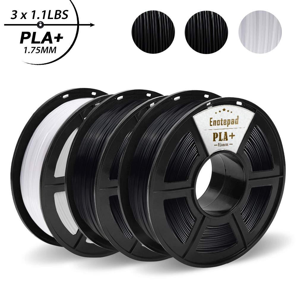 PLA+ 3D Printer Filament, PLA+ 1.75 mm, 0.5KG*3 Spools(3.3lbs), Dimensional Accuracy +/- 0.02 mm, Filament 3D Printing Materials, Compatible with most 3D Printer/3D pen, Enotepad Black+White+Black PLA Plus