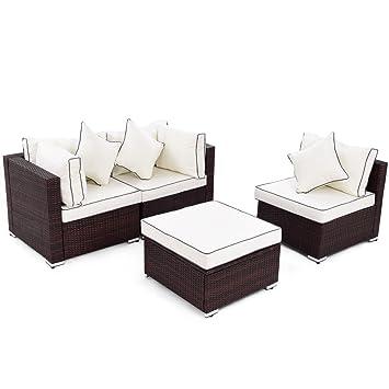 Amazon.com: oldzon - Juego de 4 muebles de mimbre para sofá ...