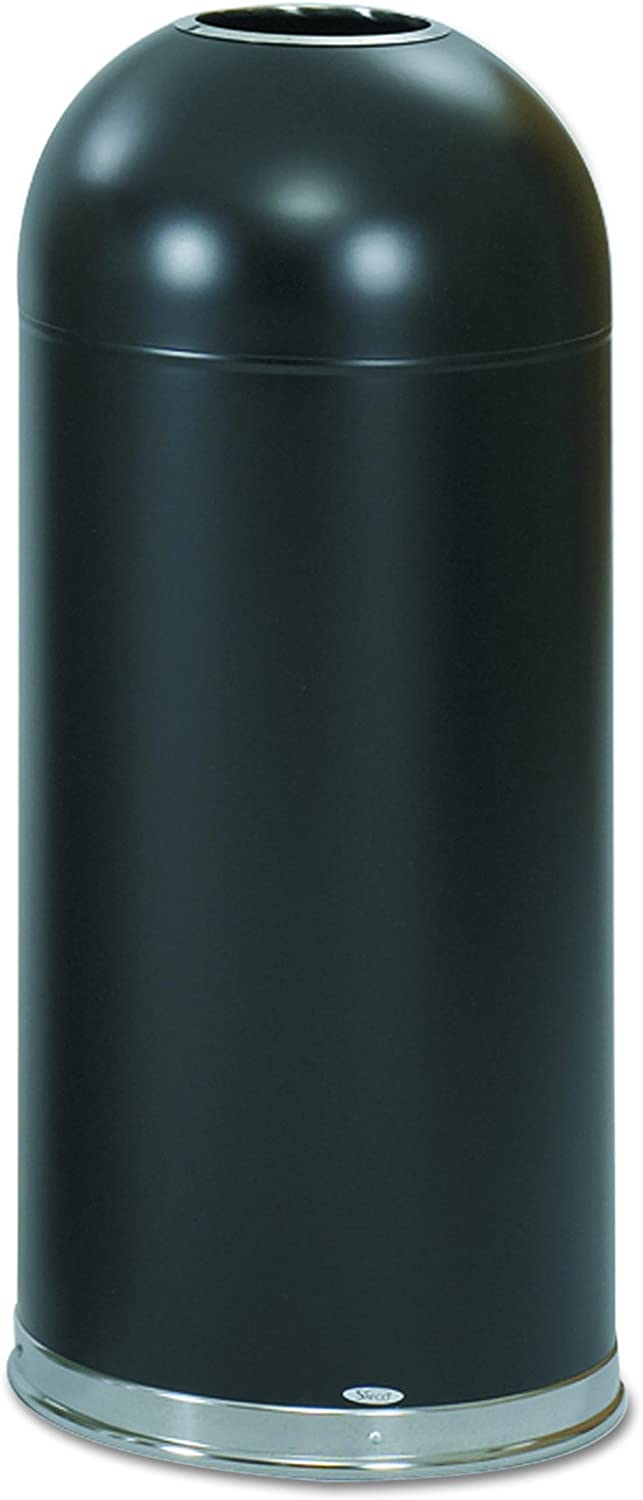 Safco Products 9639BL Open Top Dome Trash Can, 15-Gallon, Black