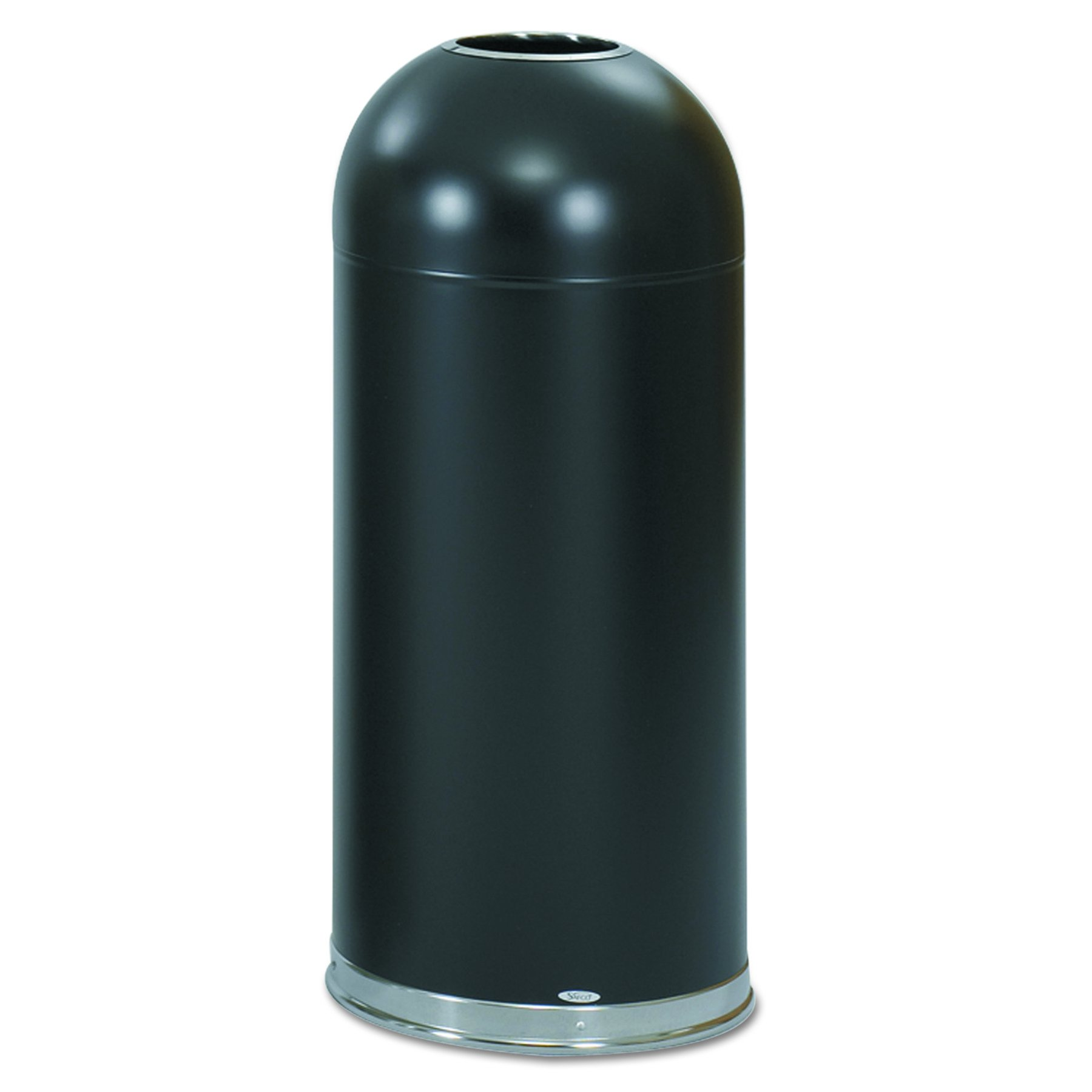 Safco 9639BL Open-Top Dome Receptacle, Round, Steel, 15gal, Black