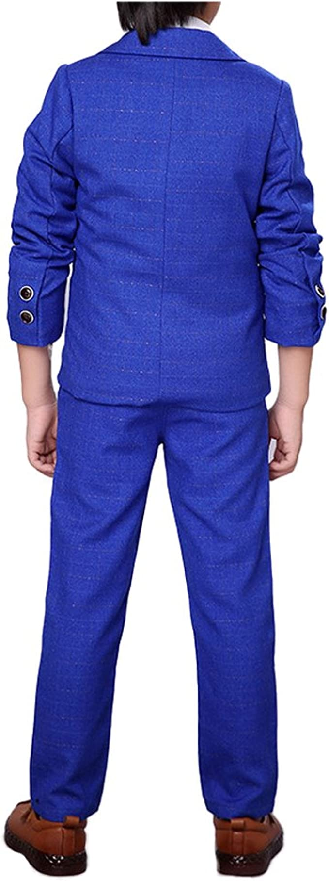 YUFAN Boys Suits 3 Pieces Royal Blue Purple Green 3 Colors Suit Jacket Vest Pants Set