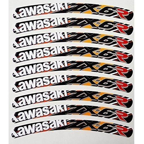 kawasaki zx6r ninja llanta pegatina dibujo Pegatinas NARANJA ...