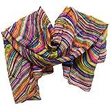 Sarong Paréo soie 170 x 110 cm rayé langes accessoire chiffon multicolore