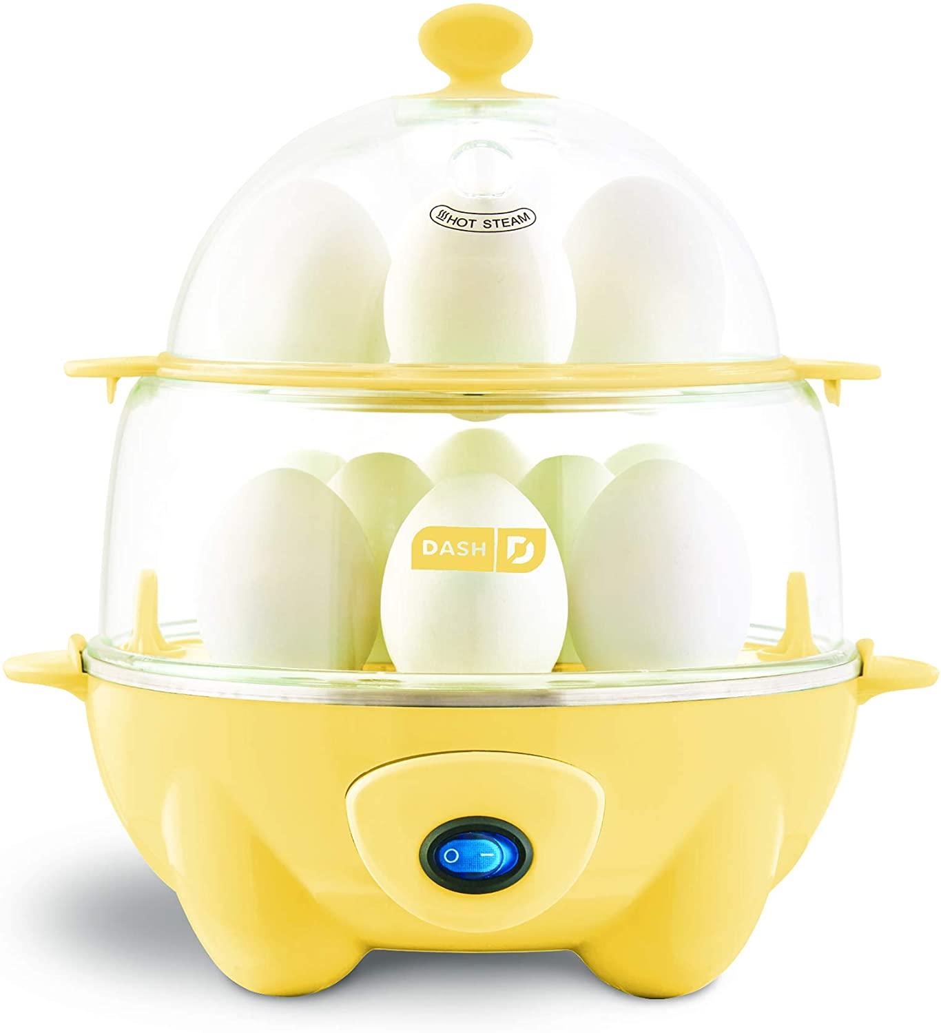 DASH DEC012PY Deluxe Rapid Egg Cooker: Electric, 12 Capacity for Hard Boiled, Poached, Scrambled, Omelets, Steamed Vegetables, Seafood, Dumplings & More with Auto Shut Off Feature, Yellow