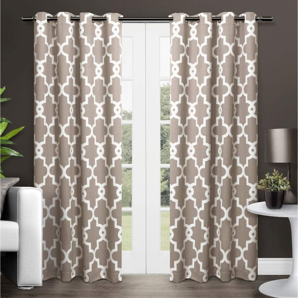 Exclusive Home Curtains Ironwork Sateen Woven Blackout Grommet Top Curtain Panel Pair, 52x96, Taupe, 2 Count