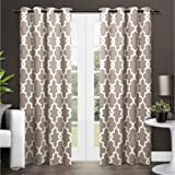 Exclusive Home Ironwork Sateen Woven Blackout Grommet Top Curtain Panel Pair, Taupe, 52x108, 2 Piece