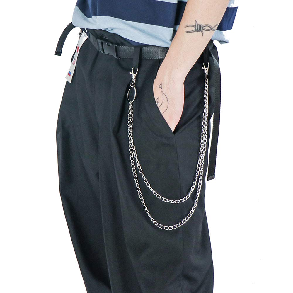 Juland Alloy Wallet Chain Hip Hop Key Chain Biker Trucker Keychain Waist Jeans Chain Motorcyle Punk Pants Trousers Gothic Rock Pocket Double Chain with 2 Lobster Clasp and Keyring