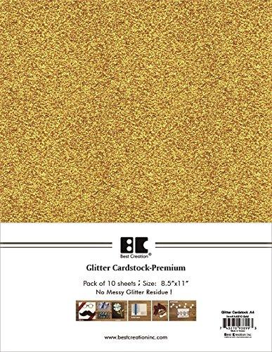 Best Creation A4 Glitter Cardstock, Gold, 10 Piece