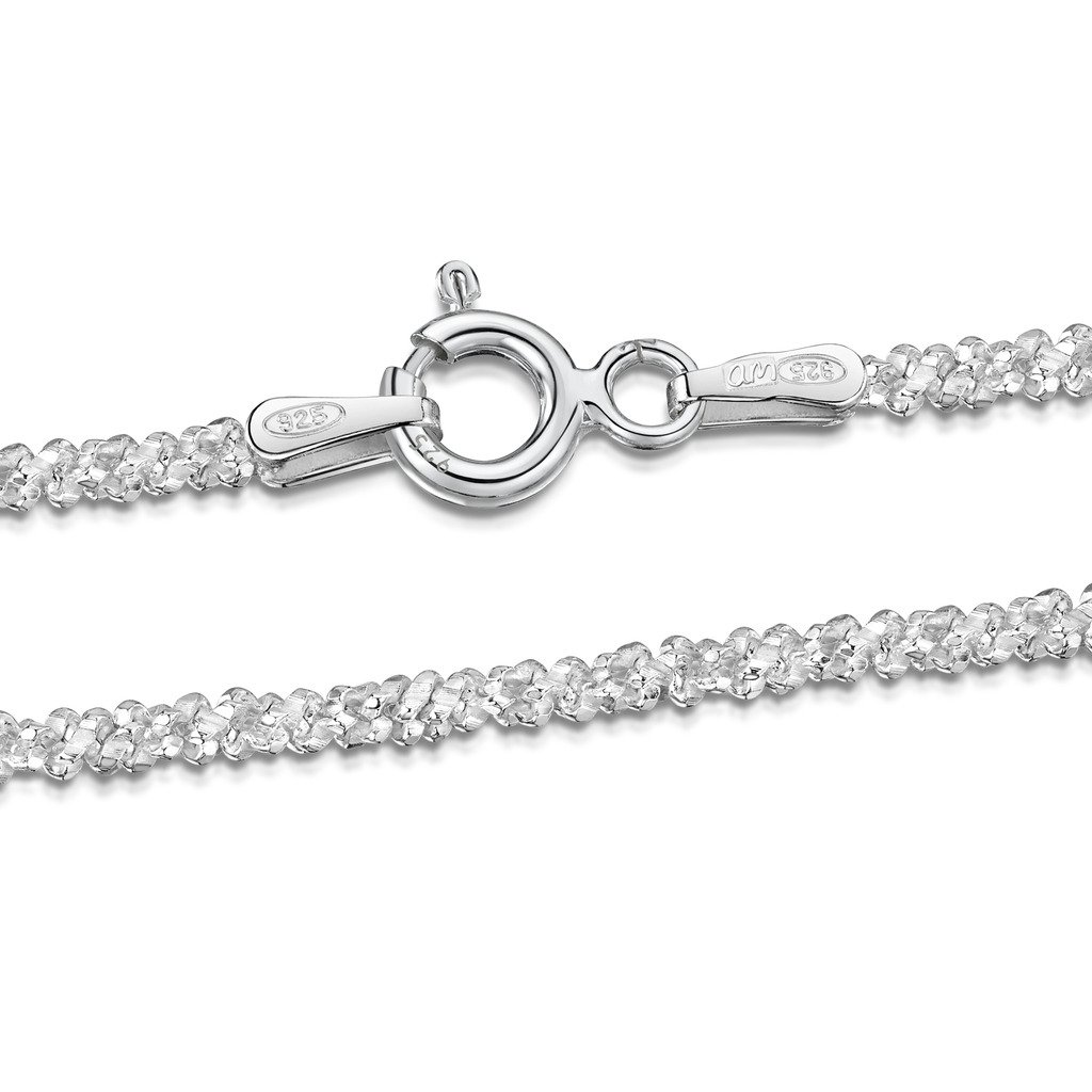 Amberta 925 Sterling Silver 2 mm Snow/Rock Chain Size: 16 18 20 22 inch BIA-S925-CHAIN-043-200-550