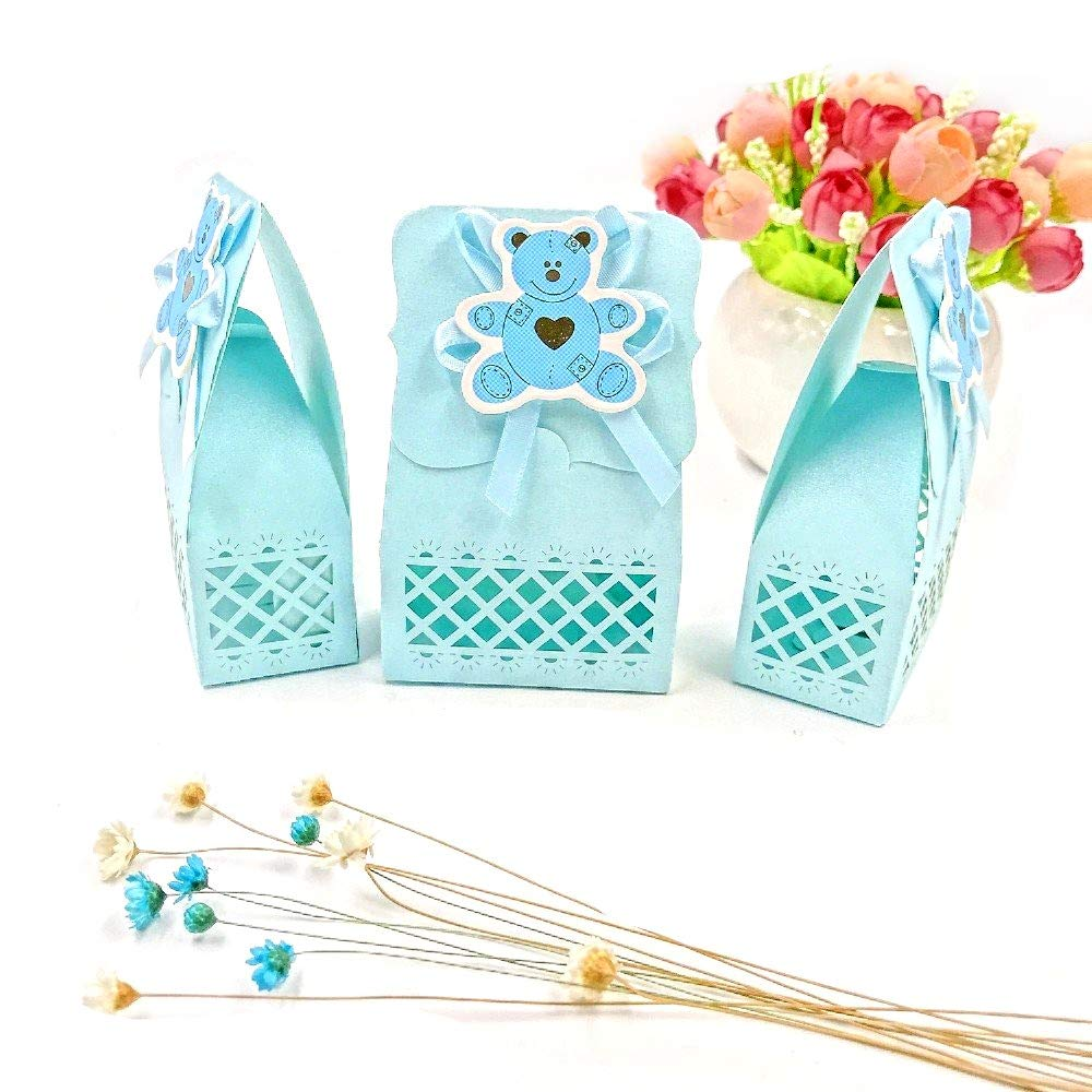 Amazon.com: JZK 24 Blue Baby Shower Favour Box boy Sweet Box ...