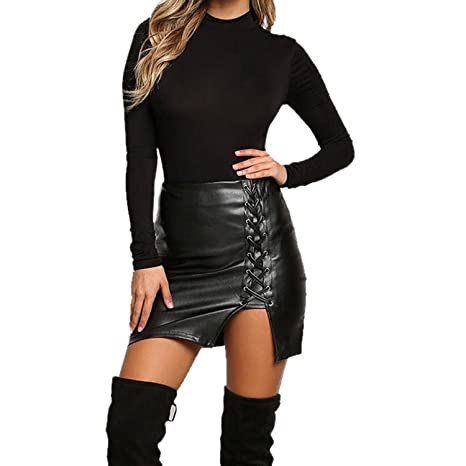 Sexy Mujer Vendajes Cuero Cintura Alta Lápiz Bodycon Mini Falda ...