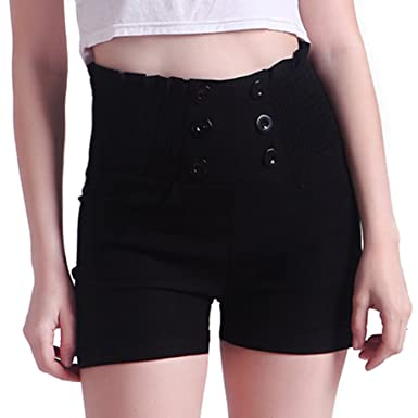 HDE Women's Vintage High Waisted Sailor Shorts Front Button Pin Up ...