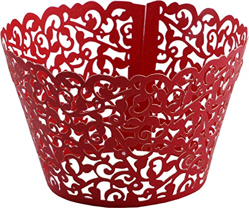 DriewWedding 100PCs Vine Designed Hollow Artistic Bake Cake Cupcake Wrappers Paper Cups Liner for Wedding Birthday Tea Party Baby Shower Food Decoration (Red)]()