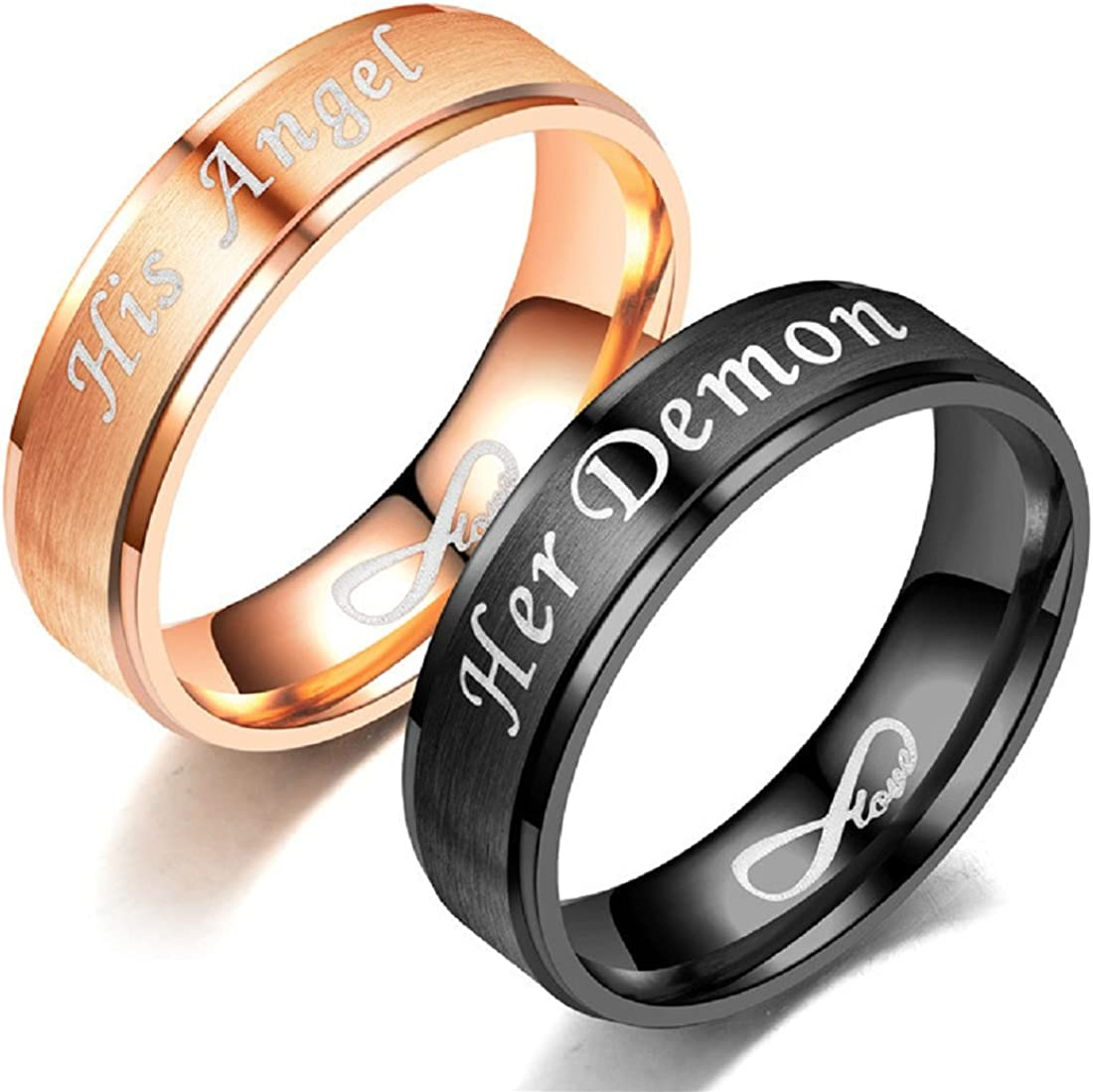 Blowin His Angel Her Demon Love Infinity Relationship Ring Stainless Steel Engagement Wedding Band For Women Men Amazon Ca Jewelry