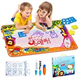 Betheaces Aqua Magic Mat, Kids Toys Large Water Drawing Mat Toddlers Painting Board Writing Mats in 6 Colors with 2 Magic Pens and 1 Brush for Boys Girls Educational Gift Size 34.5 X 22.5
