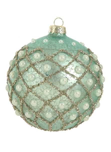 Christmas Tablescape Decor - Silent Luxury Collection - Aqua blue mercury glass and faux pearls ball Christmas ornament