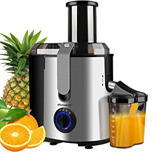 "Juicer, Picberm Centrifugal Juicer Machines Easy to Clean, 3""Wide Feed Chute Juice Extractor with Peeler, Brush & Recipes for Whole Fruits and Vegetables, Dual Speed Stainless Steel BPA-Free Anti-drip Juicers Dishwasher Safe, 800 W"