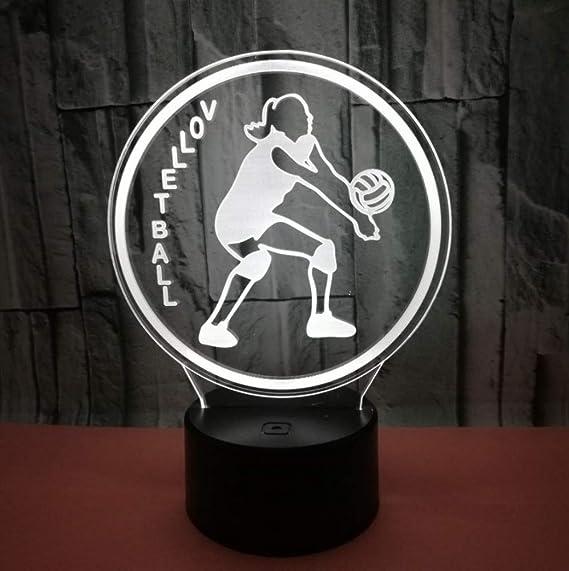 3D Lámpara, 3D Ilusión óptica 7 Colores CambiarJugando voleibol ...