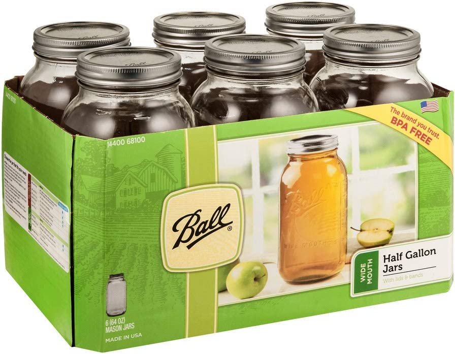 Ball Wide Mouth Half-Gallon 64 Oz. Glass Mason Jars with Lids and Bands, 6 Count - 1 Set