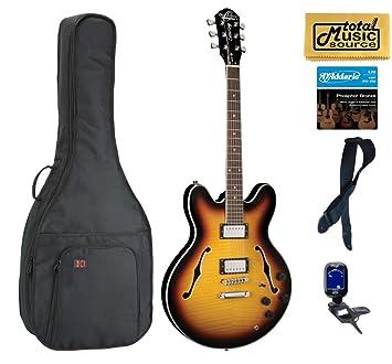 Oscar Schmidt Delta King Semi hueca Sunburst guitarra Gig Bag Correa sintonizador + más