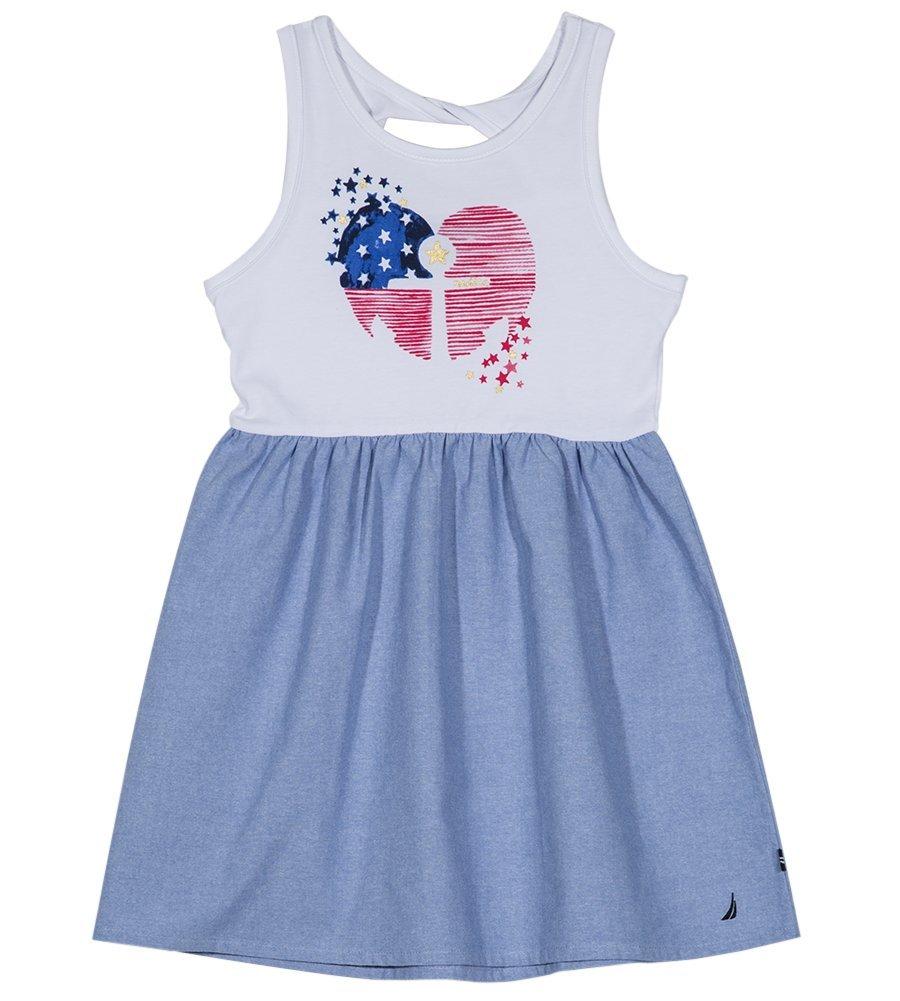Nautica Girls' Little Patterned Sleeveless Dress, White/Chambray, 5 by Nautica (Image #2)
