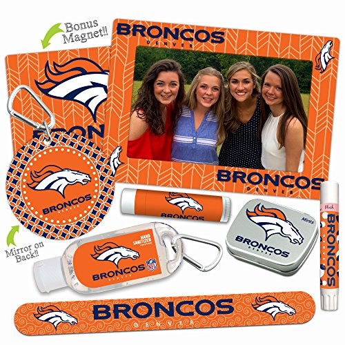 Mother's Day Deal—Denver Broncos Deluxe Variety Set with Nail File, Mint Tin, Mini Mirror, Magnet Frame, Lip Shimmer, Lip Balm, Sanitizer. NFL gifts for women Mother's Day, Stocking Stuffers (Denver Youth Broncos Pajamas)