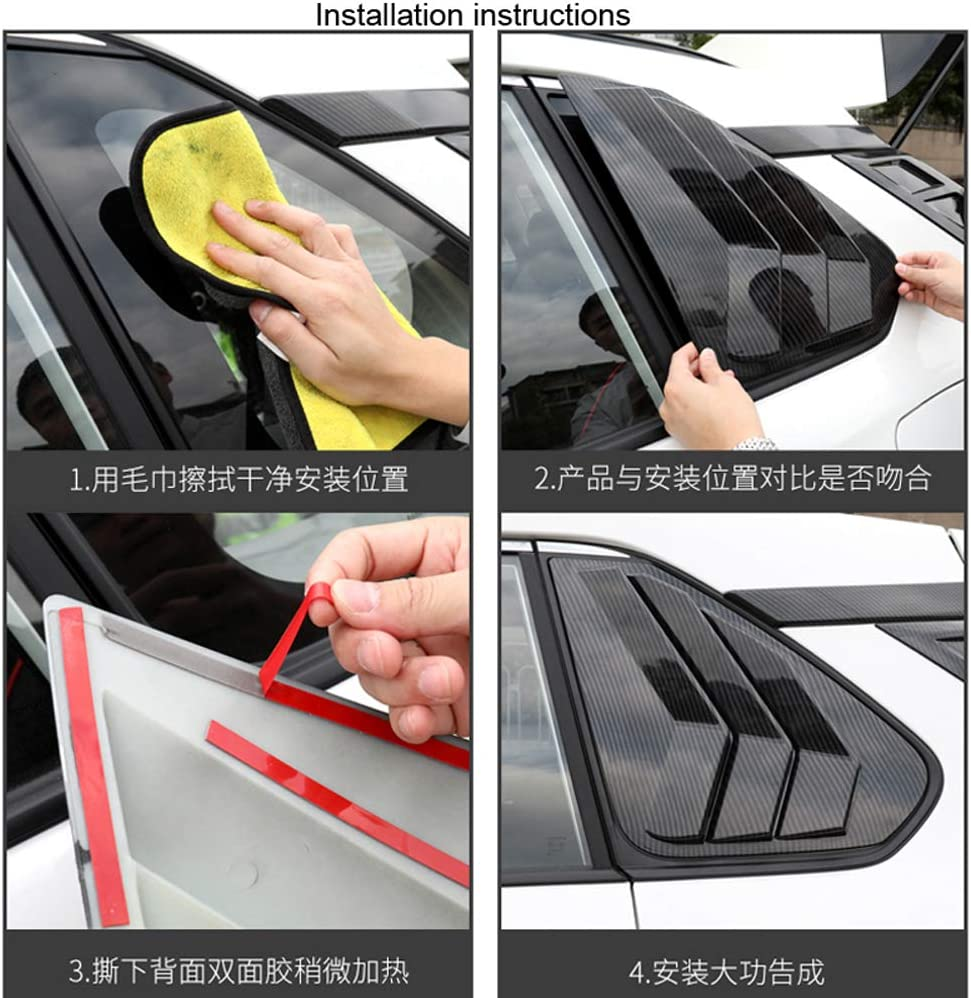 HIGH FLYING 2019 2020 for Toyota RAV4 Window Scoop Louvers Cover ABS 2PCS Carbon Fiber Grain