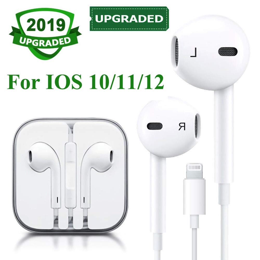 Lighting Headphones Earphones Earbuds with Microphone and Remote Control, in-Ear, Compatible with iPhone X/Xs Max/XR 7/8/8Plus IOS 10/11/12 Plug and Play