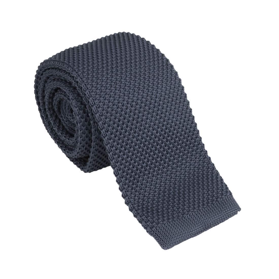 "Dan Smith Skinny Knit Tie For Men Vintage Smart Casual 2/"" Mens Skinny Knit Neck Tie Solid Ties Various Colors"