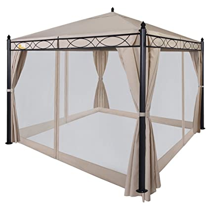 Bon Palm Springs 10ft X 10ft Deluxe Patio Canopy With Mosquito Mesh Sides