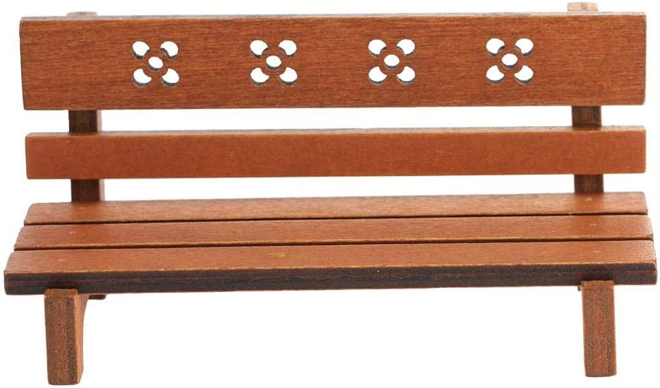 1:12 Scale Bench Model Birthday Gift Dollhouse Bench, Dollhouse Furniture, Mini Park Benches for Children for Toddlers(Brown)
