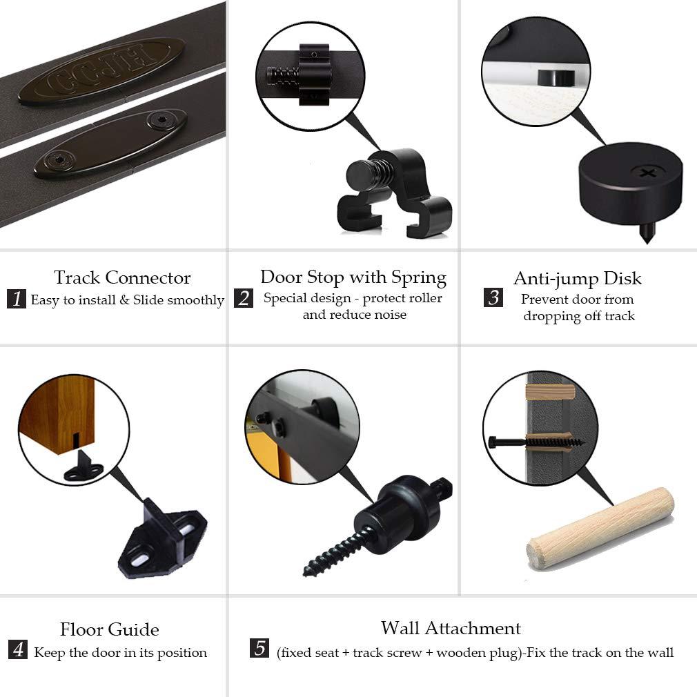 CCJH Grobes Rad 8FT-242cm Schiebe Holz Scheunentor Hardware Schiene Rolle Kit fur Single Schiebetur Holz Tur Flat Shaped
