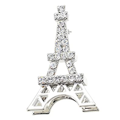 Chrome Paris Eiffel Tower Swarovski Crystal Pin Brooch and Pendant