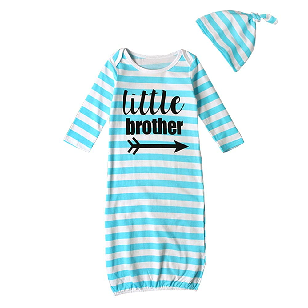 HBER Baby Boy Little Brother Long Sleeve Stripe Gowns Pajamas Sleepwear Bag Outfits with Hat littlebrother01