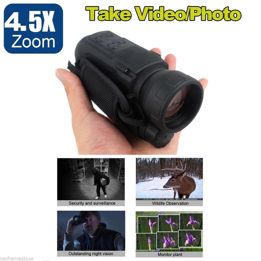 Boblov Digitale IR 4.5x 40mm Nachtsichtgerät 2M-200M (656 ft) Reichweite nimmt Foto Video DVR mit Schlüsselanhänger
