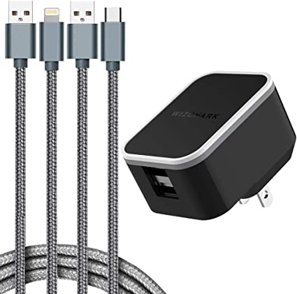 WIZCHARK USB Charger, Dual Port Wall Charger, UL Listed Charging Adapter, 2Amp with 2X Cables, Foldable Prongs for iPhone Xs/XS Max/XR/X/8/7/6/Plus, ...