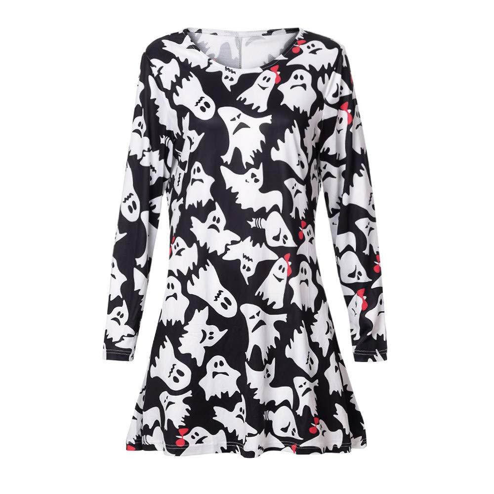 AMSKY Dress Plus Size,Women Long Sleeve Fetch Halloween Printing Evening Prom Costume Swing Dress,Fashion Hoodies & Sweatshirts,Multicolor,XL