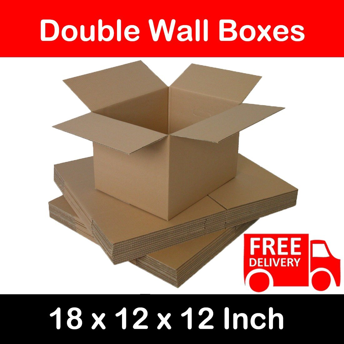 Double Wall Strong Flat-packed 457x305x305mm Corrugated Removal Storage Boxes 18x12x12 Inch (1) Elite-Packaging