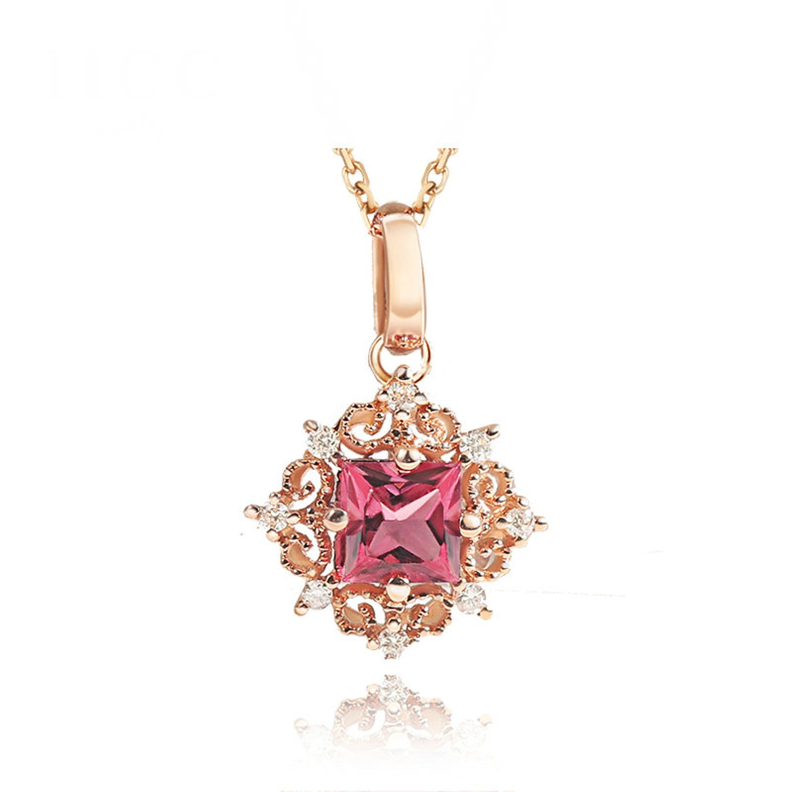 Daesar 18K Gold Necklace For Women Snowflake Necklace Gemstone Square Tourmaline Pink Chain Length: 45CM