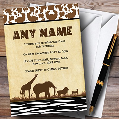 Jungle Safari Animal Print Childrens Birthday Party Invitations by The Card Zoo