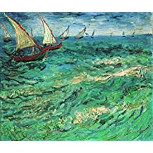 Wieco Art - Sailing Boats Modern Stretched and Framed Seascape Giclee Canvas Prints of Van Gogh Famous Oil Paintings Reproduction Pictures Photo on Canvas Wall Art Work for Bedroom Home Decorations